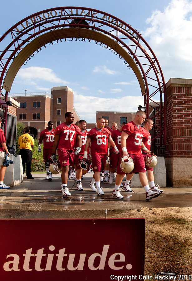 TALLAHASSEE, FL 8/5/10 FSU 080510 CH-Florida State's offensive line enters the field for the first day of practice Thursday in Tallahassee. .COLIN HACKLEY PHOTO