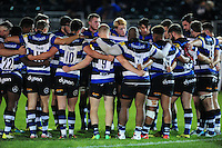 The Bath United team huddle together after the match. Aviva A-League match, between Bath United and Bristol United on September 19, 2016 at the Recreation Ground in Bath, England. Photo by: Patrick Khachfe / Onside Images