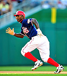 3 July 2010: Washington Nationals center fielder Nyjer Morgan on the basepath during a game against the New York Mets at Nationals Park in Washington, DC. The Nationals rallied to defeat the Mets 6-5 in the third game of their 4-game series. Mandatory Credit: Ed Wolfstein Photo