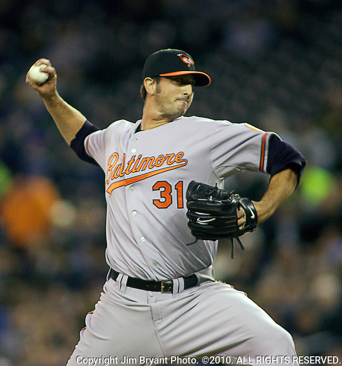 Baltimore Orioles reliever Kam Mickolio pitches against the Seattle Mariners' at SAFECO Field in Seattle April 19, 2010. The  Mariners beat the Orioles 8-2. Jim Bryant Photo. ©2010. ALL RIGHTS RESERVED.