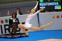 Anna Rizatdinova of Ukraine (junior) stag leaps with hoop at  2008 European Championships at Torino, Italy on June 5, 2008.  Photo by Tom Theobald.