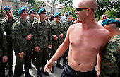 The last draft. Soldiers meet their guests after being sworn in, following a month long military training.They will have a few days off now and then will return to their barracks for additional six months.Bartoszyce, Poland, June 2008<br /> (Photo by Piotr Malecki / Napo Images)<br /> Ostatni pobor.Przysiega w jednostce w Bartoszycach. Gosc, ktory przyjechal na przysiege.13/06/2008<br /> Fot: Piotr Malecki / Napo Images