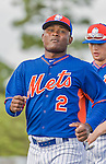 8 March 2015: New York Mets infielder Dilson Herrera warms up prior to a Spring Training game against the Boston Red Sox at Tradition Field in Port St. Lucie, Florida. The Mets fell to the Red Sox 6-3 in Grapefruit League play. Mandatory Credit: Ed Wolfstein Photo *** RAW (NEF) Image File Available ***