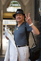 Carlos Santana coming out of Steigenberger Wiltcher's hotel in Brussels - Exclusive  - Belgium
