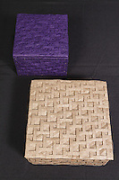 Origami tessellations or weaves applied to boxes by Tom Crain
