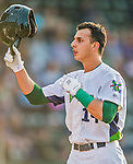 8 July 2015: Vermont Lake Monsters outfielder Steven Pallares returns to the dugout after hitting a first inning solo home-run to open the scoring against the Mahoning Valley Scrappers at Centennial Field in Burlington, Vermont. The Lake Monsters defeated the Scrappers 9-4 to open the home game series of NY Penn League action. Mandatory Credit: Ed Wolfstein Photo *** RAW Image File Available ****