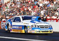 Nov 10, 2013; Pomona, CA, USA; NHRA pro stock driver Allen Johnson during the Auto Club Finals at Auto Club Raceway at Pomona. Mandatory Credit: Mark J. Rebilas-