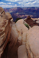 A view from an outcropping of rocks at Cedar Ridge, along the South Kaibab Trail in the Grand Canyon.