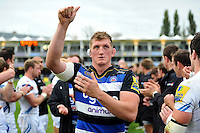 Stuart Hooper of Bath Rugby celebrates with the crowd after the match. Aviva Premiership match, between Bath Rugby and Exeter Chiefs on October 17, 2015 at the Recreation Ground in Bath, England. Photo by: Patrick Khachfe / Onside Images