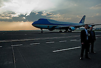 The Air Force One aircraft, with the US President Barack Obama on board, seen at the Prague Airport in Prague, Czech Republic, 5 April 2009.