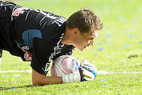 Red Bulls goalkeeper Frank Rost makes a save,..Sporting Kansas City defeated New York Red Bulls 2-0 at LIVESTRONG Sporting Park, Kansas City, Kansas.