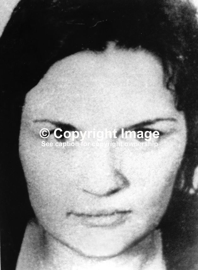 Roisin McNearney, 18 years, typist, Forte Street, Belfast, defendent, London Bombs Trial i.e. Old Bailey &amp; New Scotland Yard. The trial related to Provisional IRA bombings in London, UK, in March 1973. Of nine defendents she was the only one acquitted. 197311050691<br /> <br /> Copyright Image from Victor Patterson, 54 Dorchester Park, <br /> Belfast, UK, BT9 6RJ<br /> <br /> t1: +44 28 9066 1296 (from Rep of Ireland 048 9066 1296)<br /> t2: +44 28 9002 2446 (from Rep of Ireland 048 9002 2446)<br /> m: +44 7802 353836<br /> <br /> e1: victorpatterson@me.com<br /> e2: victorpatterson@gmail.com<br /> <br /> www.victorpatterson.com<br /> <br /> Please see my Terms and Conditions of Use at www.victorpatterson.com. It is IMPORTANT that you familiarise yourself with them.<br /> <br /> Images used on the Internet must be visibly watermarked i.e. &copy; Victor Patterson within the body of the image and copyright metadata must not be deleted. Images used on the Internet have a size restriction of 4kbs and will be chargeable at current NUJ rates unless agreed otherwise.<br /> <br /> This image is only available for the use of the download recipient i.e. television station, newspaper, magazine, book publisher, etc, and must not be passed on to any third party. It is also downloaded on condition that each and every usage is notified within 7 days to victorpatterson@me.com<br /> <br /> The right of Victor Patterson to be identified as the author is asserted in accordance with The Copyright Designs And Patents Act (1988).