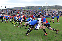 The Bath Rugby team warm-up with tackle shields prior to the match. European Rugby Champions Cup match, between Bath Rugby and RC Toulon on January 23, 2016 at the Recreation Ground in Bath, England. Photo by: Patrick Khachfe / Onside Images