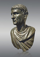 "Roman Bronze sculpture bust known as 'Sylla"" from the tablinium of the Villa of the Papyri in Herculaneum, Museum of Archaeology, Italy, grey background"