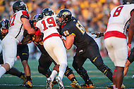 Towson, MD - September 9, 2016: Towson Tigers offensive lineman Matt Kauffman (68) makes a block during game between Towson and St. Francis at  Minnegan Field at Johnny Unitas Stadium  in Towson, MD. September 9, 2016.  (Photo by Elliott Brown/Media Images International)
