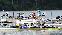 Hamilton, NEW ZEALAND. GBR M2X. Bow Matt WELLS and Marcus BATEMAN move away from the start in the Men's Double Sculls.  2010 World Rowing Championship on Lake Karapiro Monday  01/11/2010. [Mandatory Credit Peter Spurrier:Intersport Images].