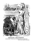 """Telescopic Philanthropy. Little London Arab. """"Please 'M, Ain't We Black Enough To Be Cared For?"""" (with MR. PUNCH'S Compliments to LORD STANLEY.)"""