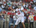 Alabama quarterback AJ McCarron (10) passes vs. Ole Miss at Vaught-Hemingway Stadium in Oxford, Miss. on Saturday, October 14, 2011. Alabama won 52-7.