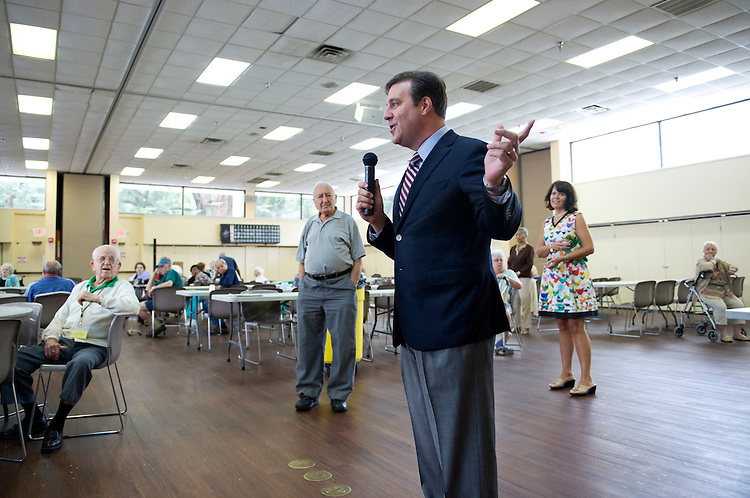 UNITED STATES - AUGUST 24:  Adam Hasner, republican candidate in Florida's 22nd District, speaks to a group of senior citizens at the Volen Center in Boca Raton, Fla.  Hasner is running against democrat Lois Frankel.  (Photo By Tom Williams/CQ Roll Call)