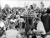 Washington, D.C. - January 31, 2006 -- Coretta Scott King has passed away in Atlanta, Georgia at age 78.  This file photo, taken in Washington, D.C.  on May 12, 1968 shows Mrs. Martin Luther King (Coretta Scott), is shown as she addressed a rally of the first contingent of the Poor People's March to arrive in the Nation's Capital.  Earlier Mrs. King joined the welfare mothers as they marched through Washington.  Construction of the shanty town, Resurrection City, that Dr. King conceived before he was assassinated in Memphis, Tennessee on April 4, 1968 began the next day.  Mrs. Robert F. Kennedy (Ethel) looks on from center right.  This photo was taken less than a month before United States Senator Robert F. Kennedy (Democrat of New York) was shot in Los Angeles, California on June 5, 1968..Credit: Arnie Sachs / CNP