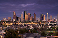 Stock photo of the Houston skyline at sunset from the west