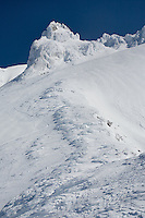 """WINTER RIDGE"" -- An icy ridge snakes up the south side of Oregon's Mount Hood during a blue sky, winter day."