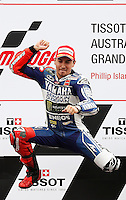 Yamaha MotoGP rider Jorge Lorenzo of Spain celebrates in the podium after winning the 2013 Australian Motorcycle Grand Prix in Phillip Island, Oct 20, 2013. Photo by Daniel Munoz/VIEWpress IMAGE RESTRICTED TO EDITORIAL USE ONLY- STRICTLY NO COMMERCIAL USE.