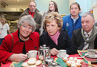 NO REPRO FEE. President McAleese has visited the Focus Ireland Coffee Shop.20/12/2010. L-R Joyce Loughnan CEO Focus Ireland, President Mary McAleese and DesMurphy a customer at the Focus Ireland Coffee Shop and Housing Advice Service in Temple Bar. The Centre provides meals, advice, information and support to the homeless.Picture James Horan/Collins Photos