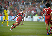 Chicago midfielder Marco Pappa (16) celebrates after scoring an early goal to put the Fire ahead 1-0.  The Chicago Fire defeated the Columbus Crew 2-1 at Toyota Park in Bridgeview, IL on June 23, 2012.