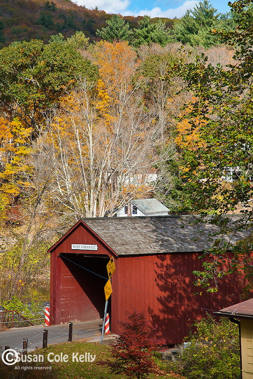 Fall foliage at the Cornwall covered bridge in West Cornwall, CT, USA