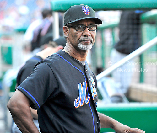 New York Mets manager Jerry Manuel (53) watches ninth inning action against the Washington Nationals at Nationals Park in Washington, D.C. on Monday, September 6, 2010.  The Nationals won the game 13 - 3..Credit: Ron Sachs / CNP.(RESTRICTION: NO New York or New Jersey Newspapers or newspapers within a 75 mile radius of New York City)