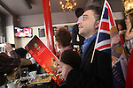 Punters watching the Royal wedding in the Frog and Rosbif pub..Many nationalities, especially English, Australians and French, coming together at midday in the English traditional style 'Frog and Rosbif' Pub in the centre of Paris, to watch the Royal Wedding of Prince William and Catherine Middleton in London. At 119 rue Saint Denis, Paris, France