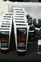 Menaji Skincare Deep Cleansing Masque, and Face & Body Scrub for Men, by Michele Probst, displayed at the Makeup Show NYC, in the Metropolitan Pavilion, May 15 2011.