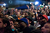 The audience for Public Enemy's headline performance in City Plaza during the Hopscotch Music Festival in Raleigh, N.C., Sat., Sept. 11, 2010.