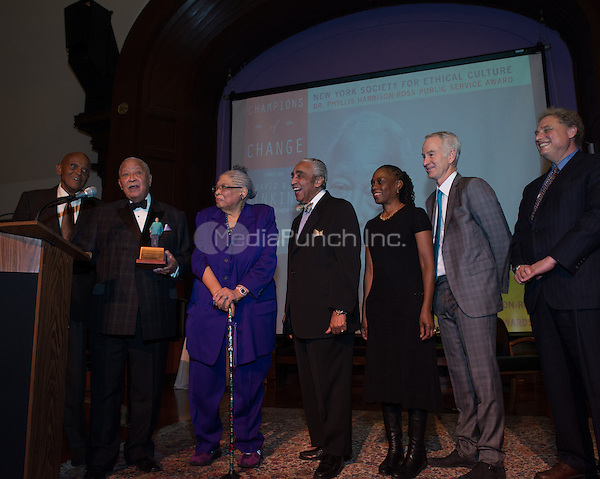 NEW YORK, NY - APRIL 3: Hon. David N. Dinkins, Harry Belafonte, John McEnroe, Randy Levine, Charles B. Rangel, Dr. Phyllis Harrison-Ross, Chirlane McCray pictured as David N. Dinkins, 106th Mayor of the City of New York, receives the Dr. Phyllis Harrison-Ross Public Service Award for a lifetime of public service at the New York Society of Ethical Culture in New York City on April 3, 2014. Credit: Margot Jordan/MediaPunch