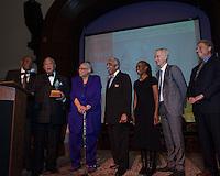 NEW YORK, NY - APRIL 3: Hon. David N. Dinkins, Harry Belafonte, John McEnroe, Randy Levine, Charles B. Rangel, Dr. Phyllis Harrison-Ross, Chirlane McCray pictured as David N. Dinkins, 106th Mayor of the City of New York, receives the Dr. Phyllis Harrison-Ross Public Service Award for a lifetime of public service at the New York Society of Ethical Culture in New York City on April 3, 2014. Credit: Margot Jordan/MediaPunch