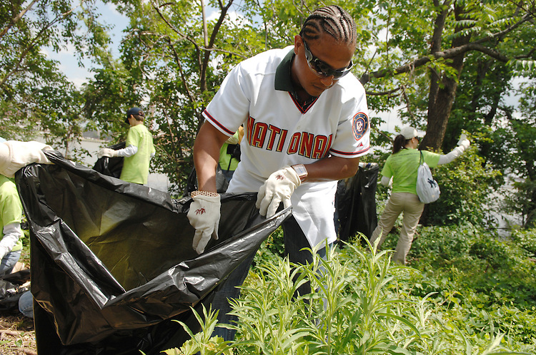Washington Nationals infielder Ronnie Belliard, picks up garbage during a clean up effort along the banks of Anacostia River.  Members of the Nationals joined Kimball Elementary School and Charles E. Smith Jewish Day School students and the Earth Conservation Corps, for the effort.