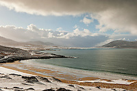 Traigh Lar Beach in winter, near Horgabost, Isle of Harris, Outer Hebrides, Scotland