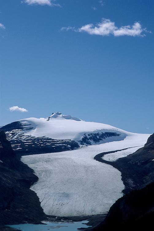 Source of North Saskatchewan River at Saskatchewan Glacier viewed from Parker Ridge, summer, Banff National Park, Alberta.