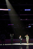 Singing national anthem during ice-hockey match between Los Angeles Kings and Phoenix Coyotes in NHL league, March 3, 2011 at Staples Center, Los Angeles, USA. (Photo By Matic Klansek Velej / Sportida.com)