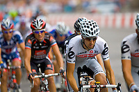 A professional cyclist from Cervelo Test Team rides amongst the peleton during the 2010 Tour de France