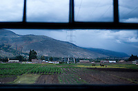 A view of farmland near Huancayo from aboard the tren macho.