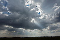 Sun beams streaming through clouds, Masai Mara, Kenya