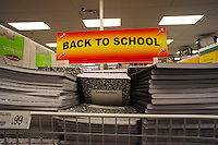 Back to school supplies are seen in an Office Depot supply store in Hoboken, NJ on Saturday, July 21, 2012. Stores are beginning to offer earlier than usual back to school specials. (© Richard B. Levine)