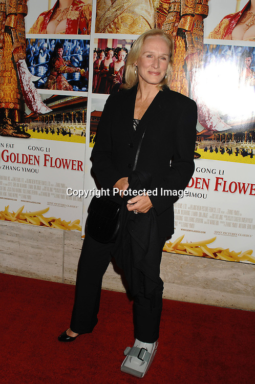 """Glenn Close who broke her ankle arriving at the Premiere of """" Curse of The Golden Flower"""" on November 27, 2006 at Alice Tully Hall...Robin Platzer, Twin Images"""