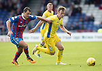 Inverness Caley Thistle v St Johnstone&hellip;27.08.16..  Tulloch Stadium  SPFL<br />Liam Craig holds off Lewis Horner<br />Picture by Graeme Hart.<br />Copyright Perthshire Picture Agency<br />Tel: 01738 623350  Mobile: 07990 594431
