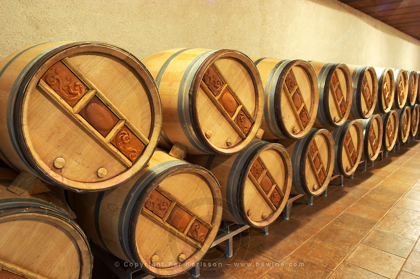 Oak barrel aging and fermentation cellar. Clos de l'Obac, Costers del Siurana, Gratallops, Priorato, Catalonia, Spain.
