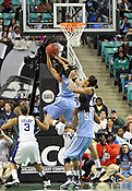 UNC's Candace Wood takes a shot. This was the Championship game of the 2011 ACC Tournament in Greensboro on March 6, 2011. Duke beat UNC 81-66. (Photo by Al Drago)