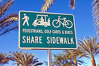 Pedestrian, Restrictions, Sign, Golf Carts & Bikes, Share Sidewalk