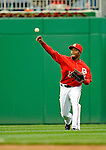 13 April 2008: Washington Nationals' outfielder Willie Harris in action against the Atlanta Braves at Nationals Park, in Washington, DC. The Nationals ended their 9-game losing streak by defeating the Braves 5-4 in the last game of their 3-game series...Mandatory Photo Credit: Ed Wolfstein Photo